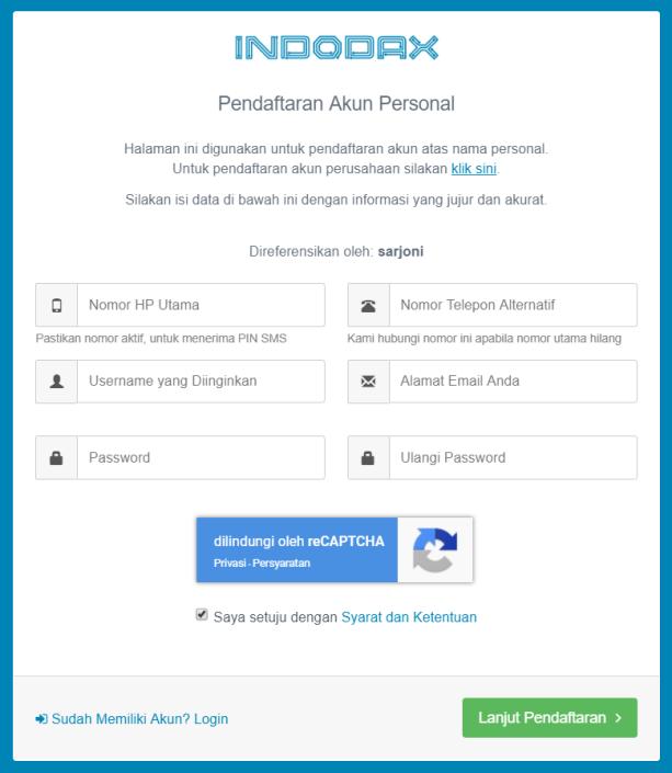pendaftaran akun indodax